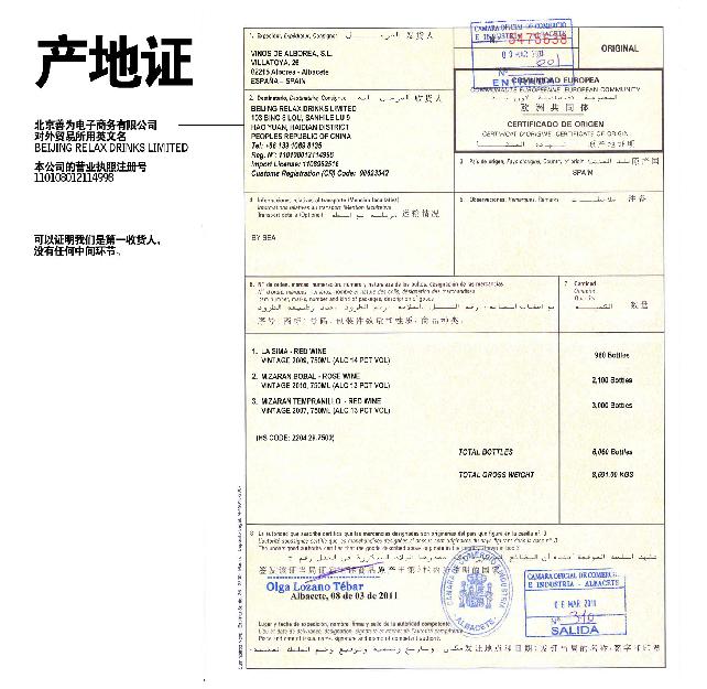 Origen certificado espana de